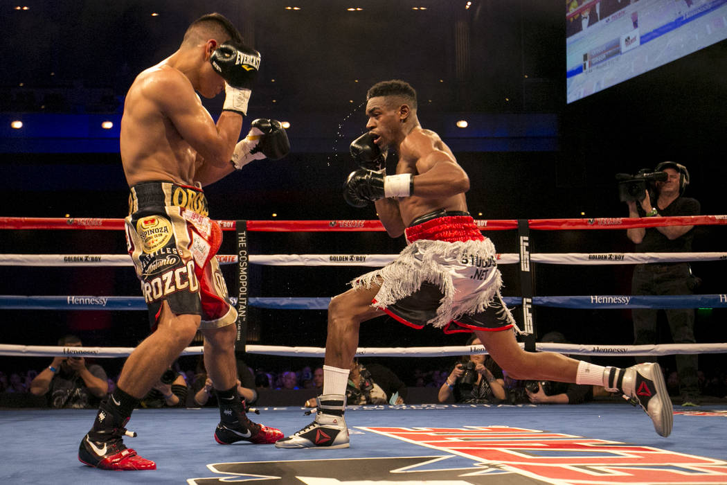 KeAndre Gibson, right, attempts to hit Antonio Orozco during their super lightweight match at The Chelsea at The Cosmopolitan hotel-casino on Saturday, April 1, 2017, in Las Vegas. Orozco had a kn ...