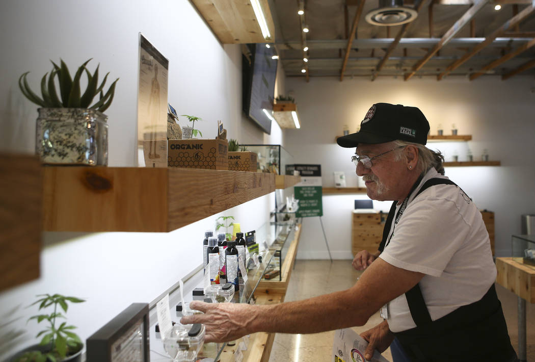 Donald Solo browses through products at medical marijuana dispensary The Source in Las Vegas on Thursday, March 30, 2017. (Chase Stevens/Las Vegas Review-Journal) @csstevensphoto