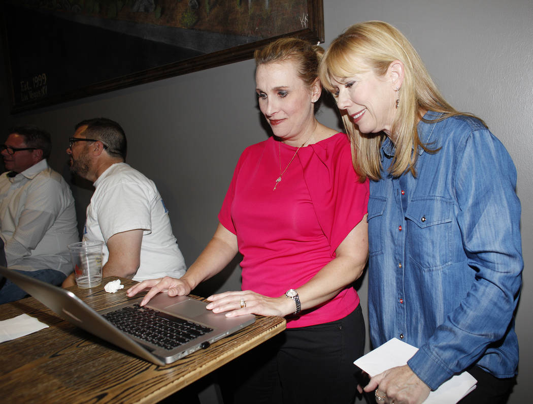 Campaign manager Kami Dempsey and Christina Roush watch results come in at Roush's watch party for Las Vegas Ward 2 City Council at Tenaya Creek Brewery on Tuesday, April 4, 2017, in Las Vegas. Ra ...