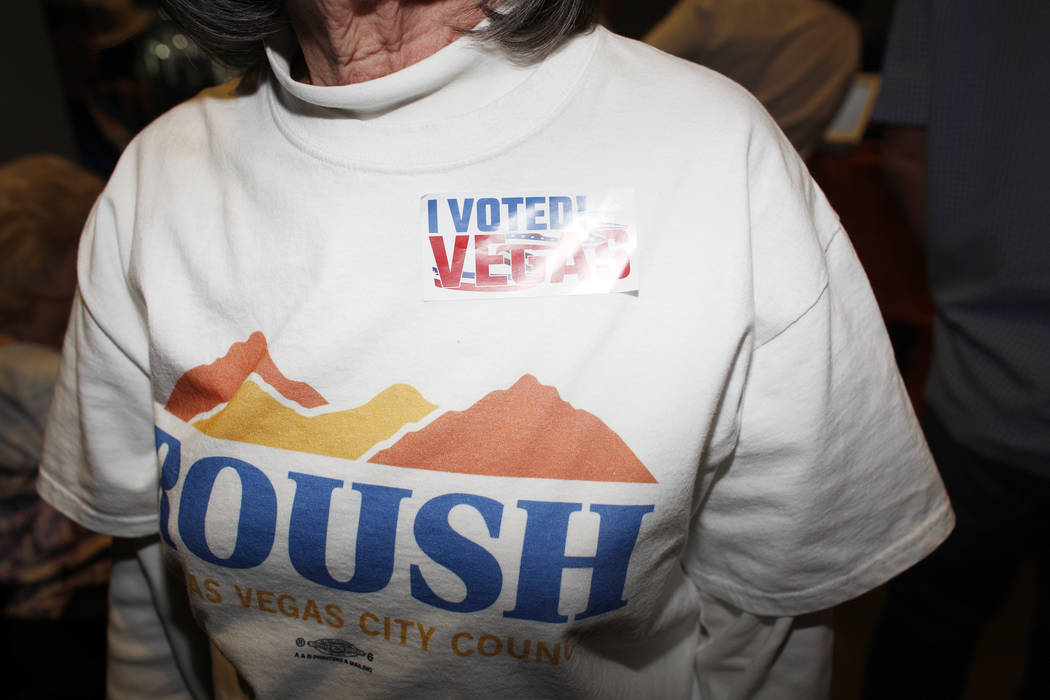 Pauline Autonakos shows her sticker that says she voted at the watch party for Las Vegas Ward 2 City Council candidate Christina Roush at Tenaya Creek Brewery on Tuesday, April 4, 2017, in Las Veg ...
