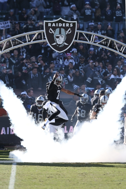 Oakland Raiders punter Marquette King during pre-game introductions at an NFL game against the Indianapolis Colts on Saturday, Dec. 24, 2016 at the Oakland Coliseum in Oakland, CA. The Raiders won ...