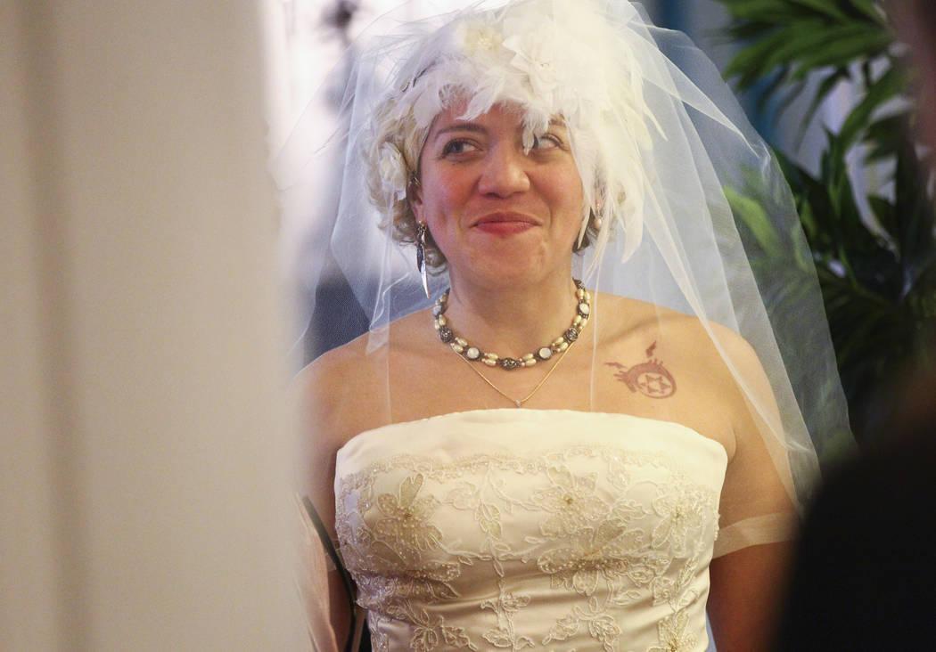 Lauren Santiago prepares to be walked down the aisle in her wedding ceremony at the Little Vegas Chapel in Las Vegas on Saturday, April 1, 2017. (Chase Stevens/Las Vegas Review-Journal) @csstevens ...