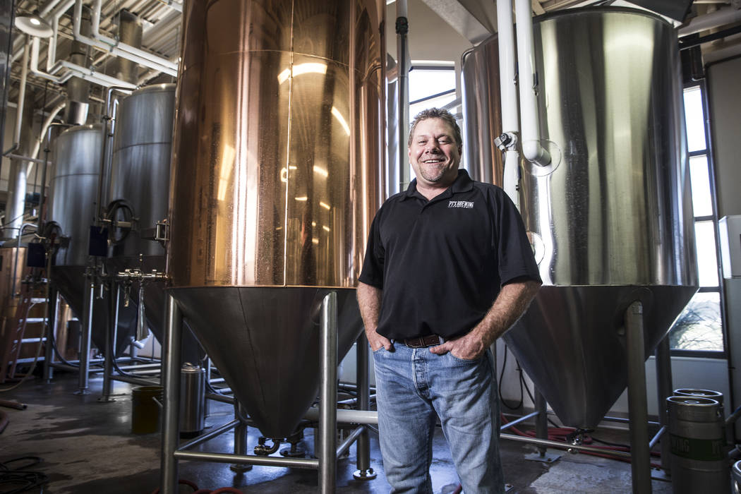 """PT's brewmaster Dave Otto has been brewing craft beers for over 20 years in Las Vegas. """"I'm a total beer geek, so this is a dream job,"""" said Otto. Photo taken on Tuesday, April, 4, 2017, at PT's B ..."""