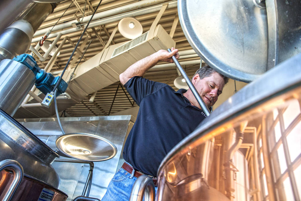 "PT's brewmaster Dave Otto has been brewing craft beers for over 20 years in Las Vegas. ""I'm a total beer geek, so this is a dream job,"" said Otto. Photo taken on Tuesday, April, 4, 2017, at PT's B ..."