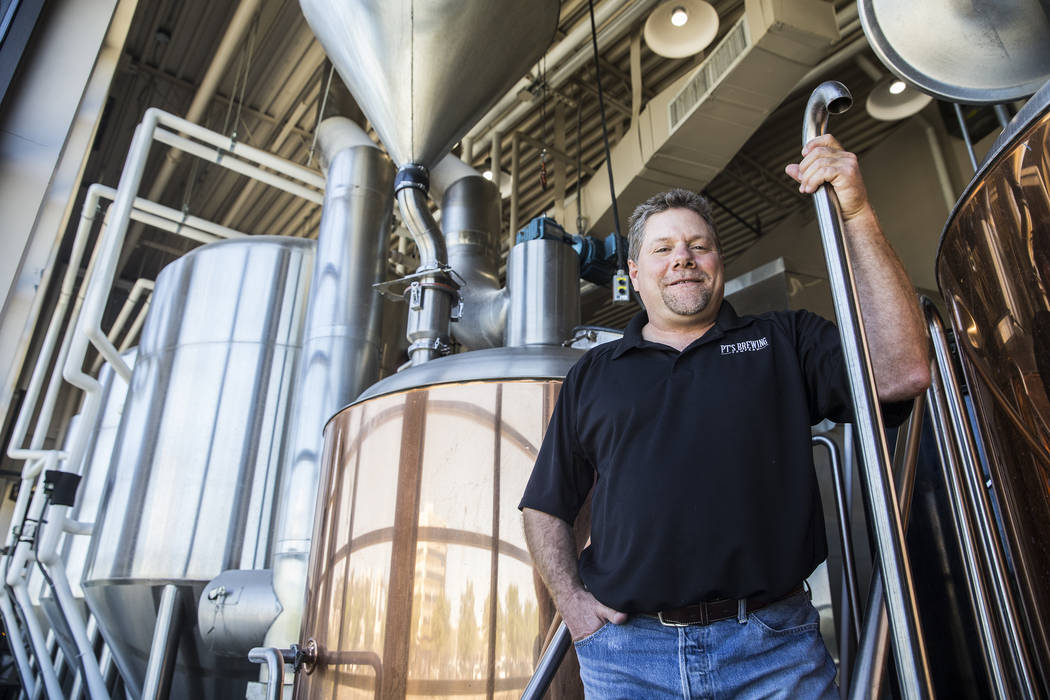 """PT's brewmaster Dave Otto has been brewing craft beers for over 20 years in Las Vegas. """"I'm a total beer geek so, this is a dream job,"""" said Otto. Photo taken on Tuesday, April, 4, 2017, at PT's B ..."""
