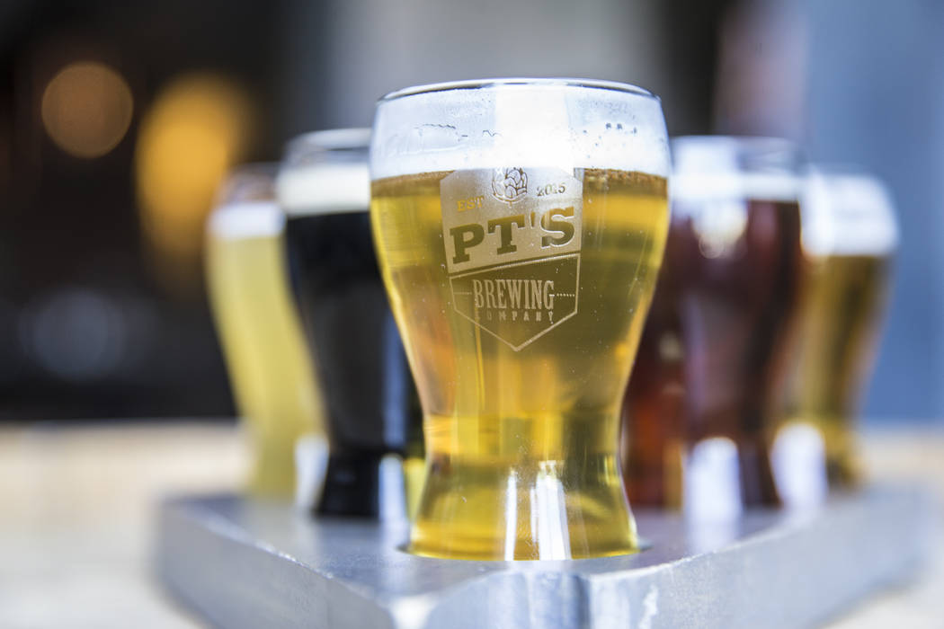 Clockwise from front; Horizon Light, Sahara Pale Ale, Sunset Wit, Sean Patrick's Irish Ale, Hualapai IPA and Boulder Stout at PT's Brewing Company on Tuesday, April, 4, 2017, in Las Vegas. (Benjam ...