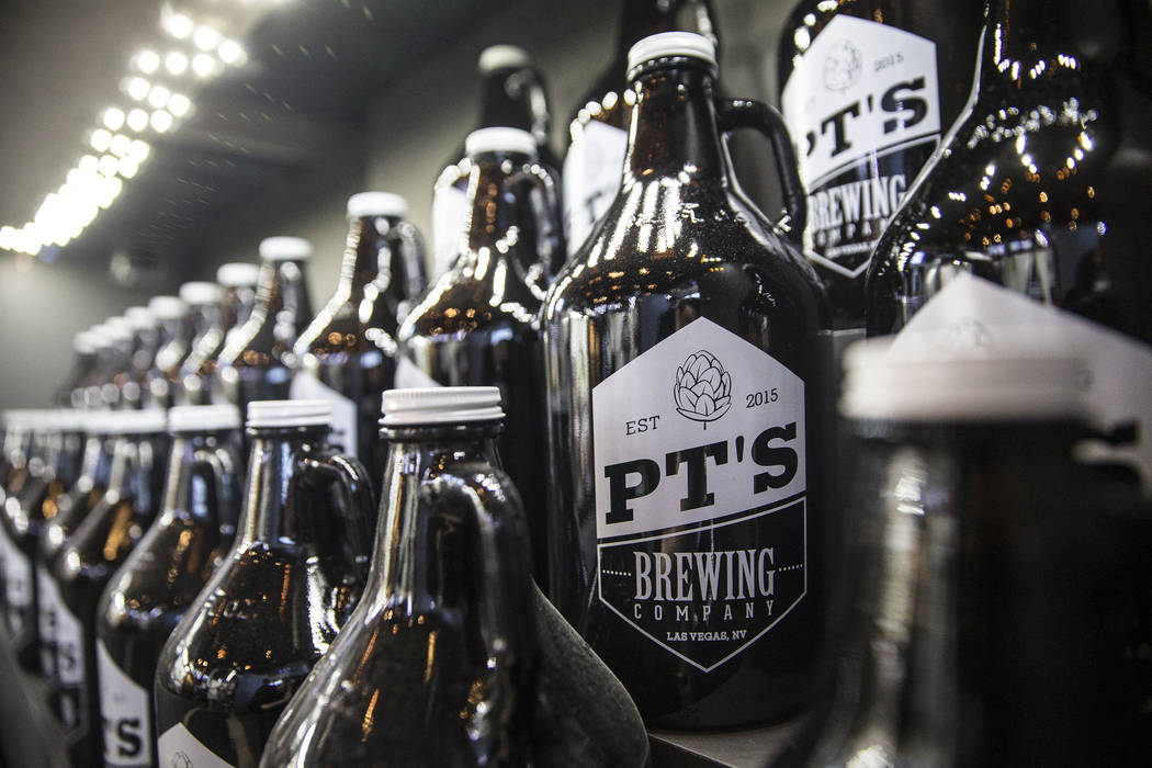 Patrons can fill growlers with PT's craft beers to drink in house or at home. Photo taken at PT's Brewing Company on Tuesday, April, 4, 2017, in Las Vegas. (Benjamin Hager/Las Vegas Review-Journal ...
