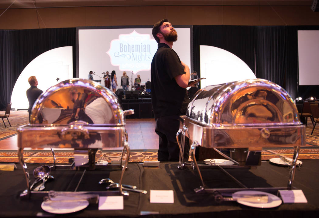 Mandalay Bay staff preparing for a dinner for technology convention attendees. Todd Prince Las Vegas Review-Journal