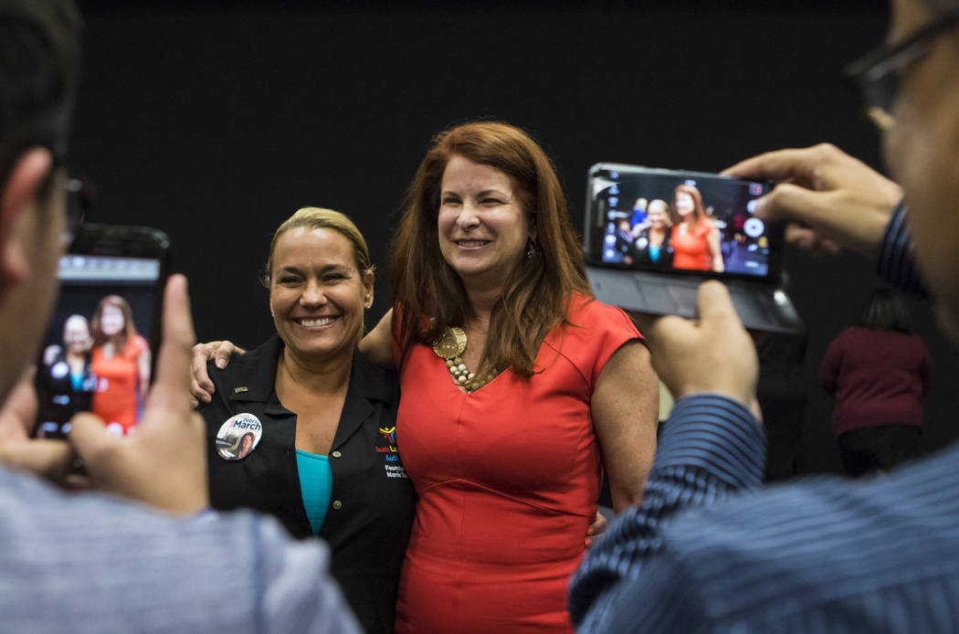 Henderson Ward 2 City Councilwoman and mayoral candidate Debra March poses with Marie Tomao at the Henderson Convention Center in Henderson on Tuesday, April 4, 2017. (Miranda Alam/Las Vegas Revie ...