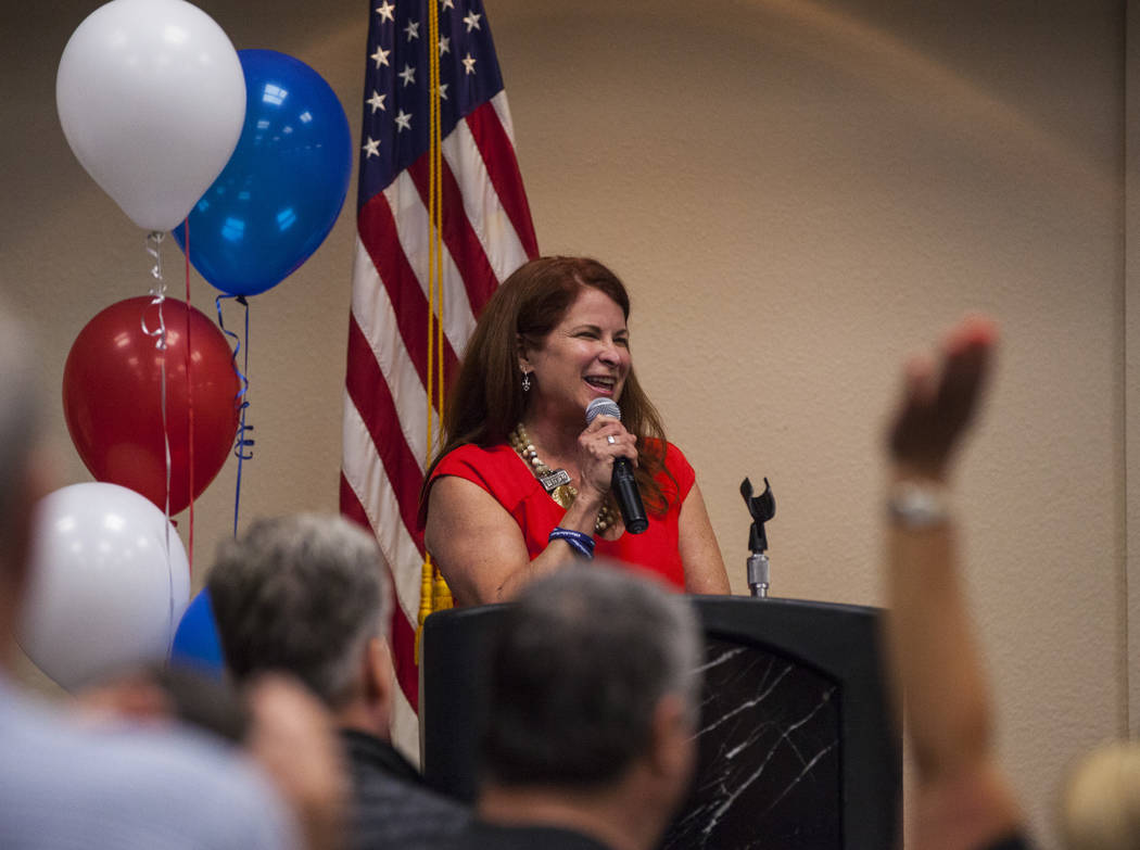 Henderson Ward 2 City Councilwoman and mayoral candidate Debra March makes a speech at her watch party after early polling results put her in the lead at the Henderson Convention Center in Henders ...
