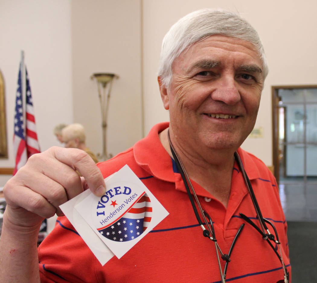 "Mayoral candidate Rick Workman showing off his ""I Voted"" stickers at Sun City MacDonald Ranch, Tuesday, April 4, 2017. Gabriella Benavidez Las Vegas Review-Journal @gabbydeebee"