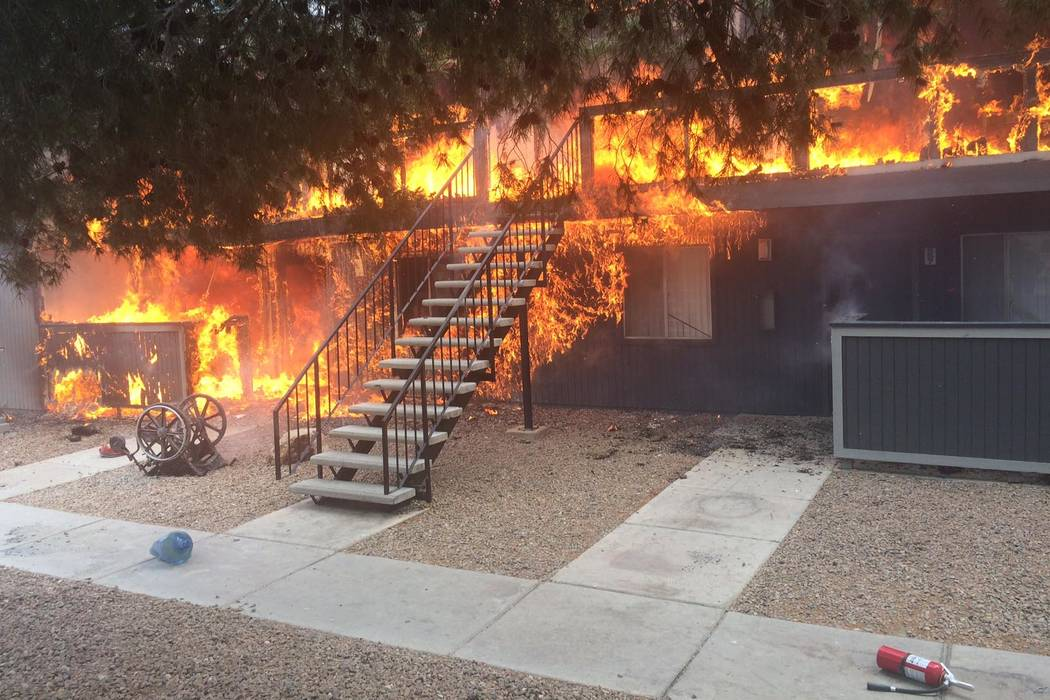 A three-alarm fire destroyed a northwest Las Vegas apartment building near Rainbow Boulevard and Washington Avenue in Las Vegas on Monday, March 27, 2017. (Las Vegas Fire Department)