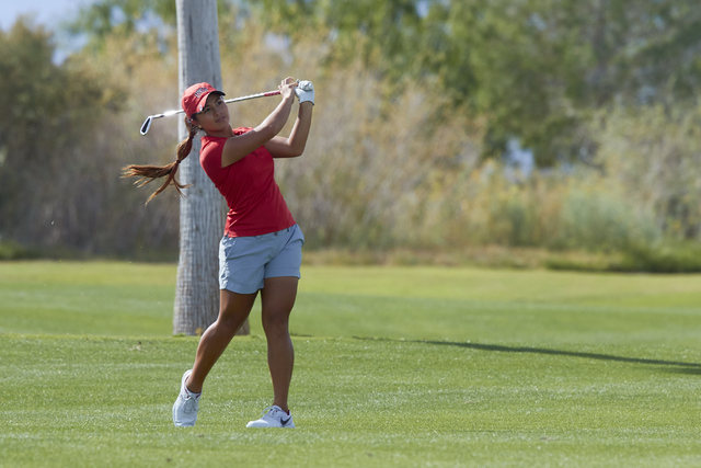 Alexandra Kaui, shown two seasons ago, tied with UNLV teammate Harley Dubsky in sixth place Wednesday at the Mountain West Championship, helping the Rebels to their second straight league title. ( ...