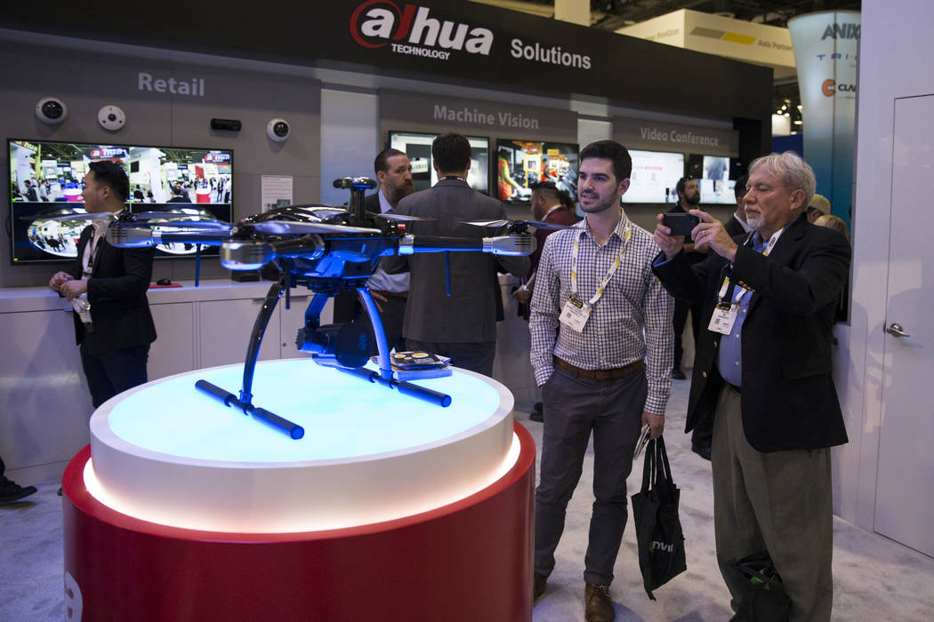 Alex Walker, left, and Paul Joyal of Washington D.C. attends the International Security Conference & Exposition at the Sands Expo on Wednesday, April 5, 2017, in Las Vegas. Erik Verduzco Las V ...