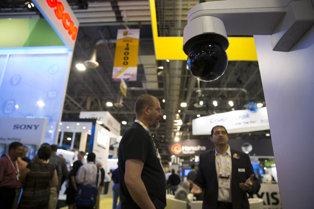 A security camera on display during the International Security Conference & Exposition at the Sands Expo on Wednesday, April 5, 2017, in Las Vegas. Erik Verduzco Las Vegas Review-Journal Follo ...