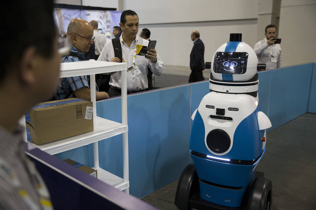 Ramsee, an autonomous security robot by Gamma 2 Robotics, on display during the International Security Conference & Exposition at the Sands Expo on Wednesday, April 5, 2017, in Las Vegas. Erik ...