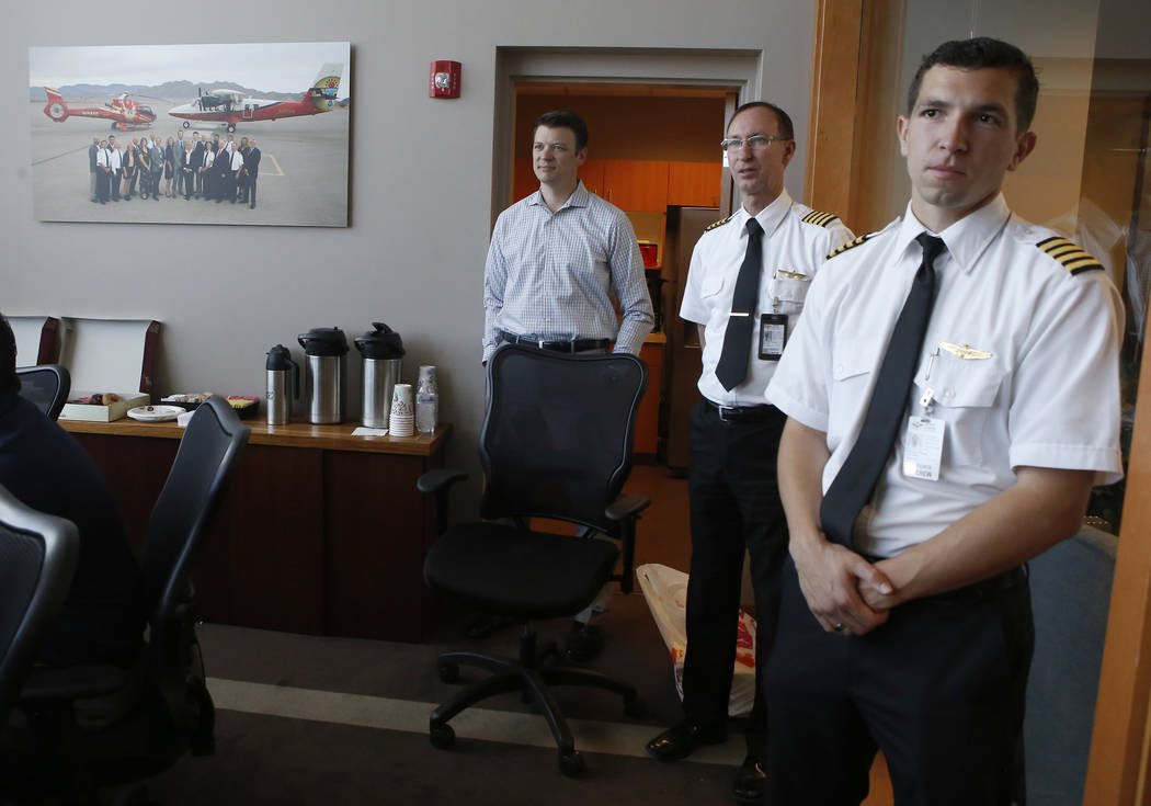 President of Grand Canyon Scenic Airlines Jake Tomlin, from left, Chief Pilot Dave McIntosh and Captain Nicholas DiBlasi at the Boulder City Municipal Airport on Wednesday, April 5, 2017, in Bould ...