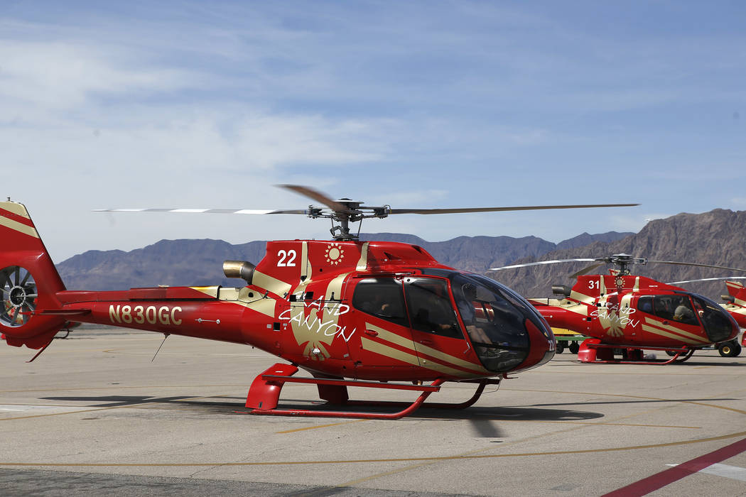 Grand Canyon Scenic Airline helicopters at the Boulder City Municipal Airport on Wednesday, April 5, 2017, in Boulder City, Nevada. Their pilots will have the opportunity to join Allegiant Air onc ...
