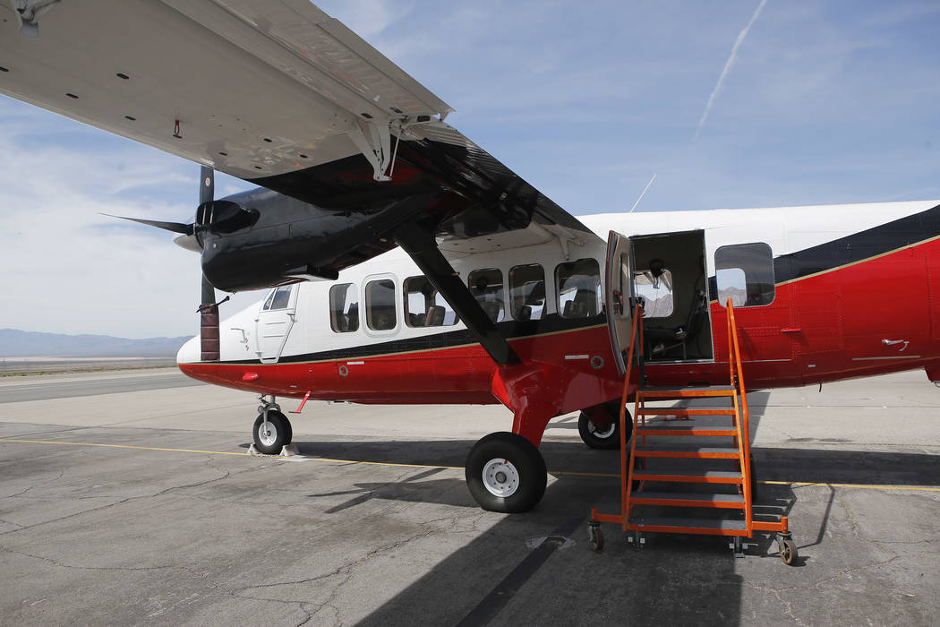A plane at the Boulder City Municipal Airport on Wednesday, April 5, 2017, in Boulder City, Nevada. Grand Canyon Scenic Airlines pilots will have the opportunity to join Allegiant Air once they re ...