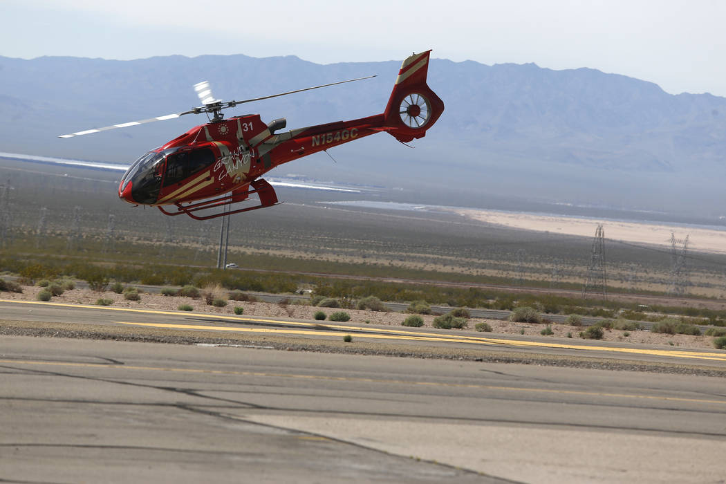 A Grand Canyon Scenic Airline helicopter takes flight at the Boulder City Municipal Airport on Wednesday, April 5, 2017, in Boulder City. Their pilots will have the opportunity to join Allegiant A ...