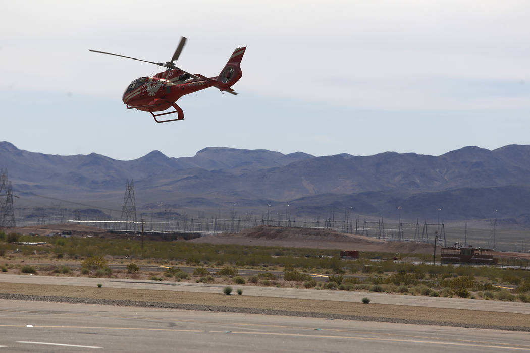 A Grand Canyon Scenic Airline helicopter takes flight at the Boulder City Municipal Airport on Wednesday, April 5, 2017, in Boulder City, Nevada. Their pilots will have the opportunity to join All ...