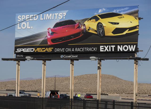 SpeedVegas was closed as investigators worked to determine what caused a Lamborghini Gallardo to crash. (Benjamin Hager/Las Vegas Review-Journal) @benjaminhphoto