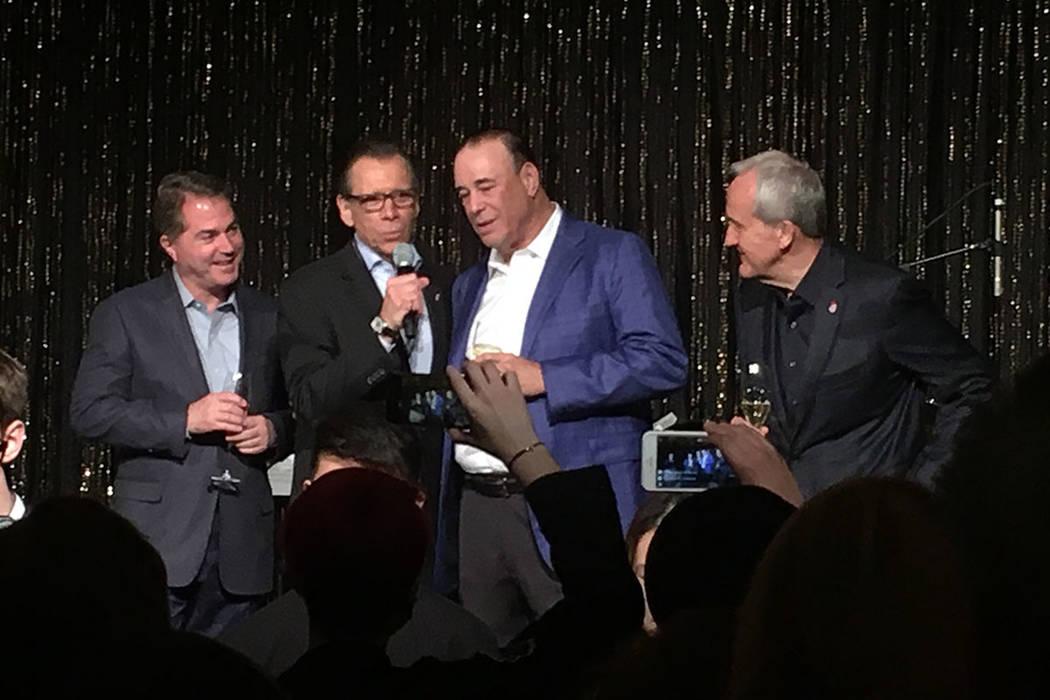 UNLV President Len Jessup, Michael Severino, Jon Taffer and Larry Ruvo, from left, take the stage at UNLVino at the Venetian on Thursday, March 30, 2017. (John Katsilometes/Las Vegas Review-Journal)