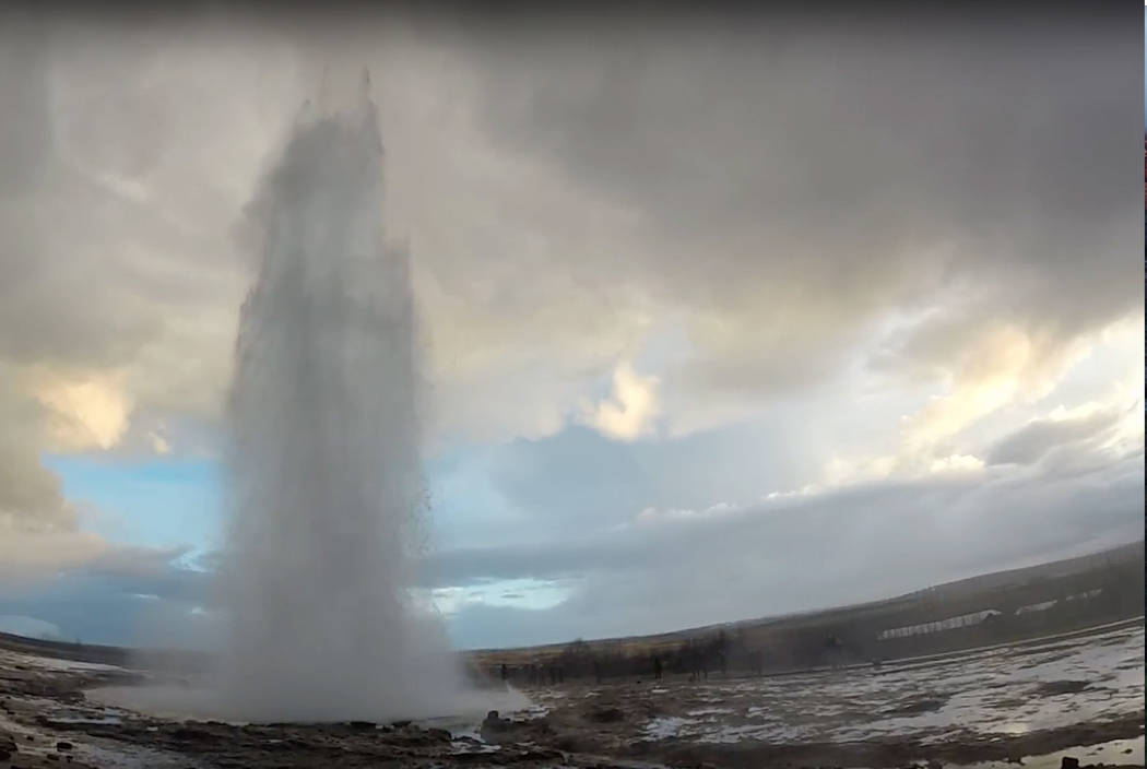 Strokkur geyser in southwestern Iceland erupts once every 6-10 minutes. The geothermal field is one of three stops on the Golden Circle tour. ( Janna Karel/Las Vegas Review-Journal)