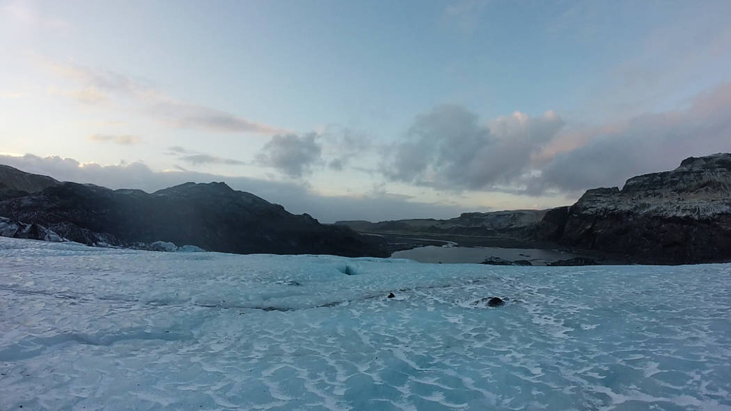 Hikers traverse Solheimajokull Glacier in Southern Iceland. (Janna Karel/Las Vegas Review-Journal)