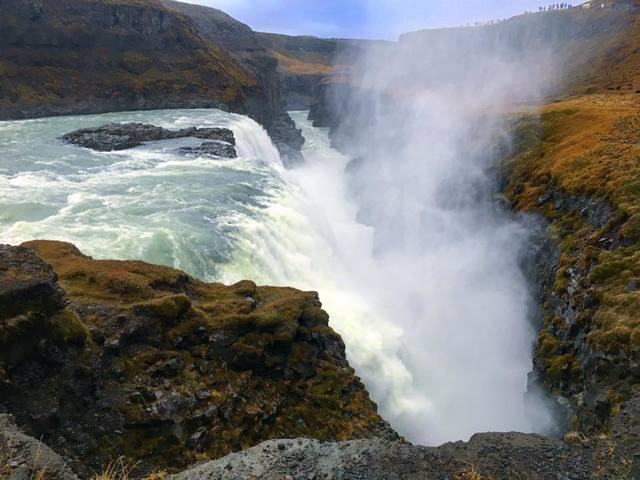 Gullfoss Waterfall is a point of interest along the Golden Circle in southwest Iceland on December 18, 2017. (Janna Karel/Las Vegas Review-Journal)