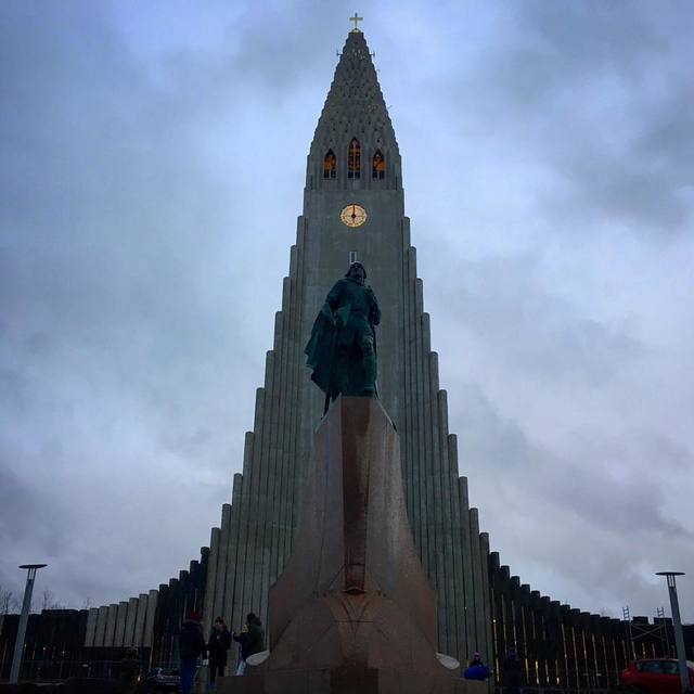 A statue of Leif Erikson stands in front of Hallgrímskirkja church is Reykjavík's main landmark on December 22, 2017. (Janna Karel/Las Vegas Review-Journal)