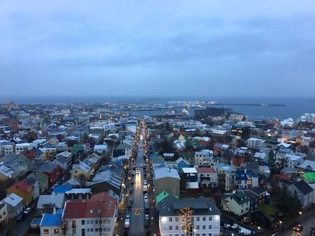 A view of Reykjavik can be seen from Hallgrímskirkja church's tower in Reykjavík on December 22, 2017. (Janna Karel/Las Vegas Review-Journal)