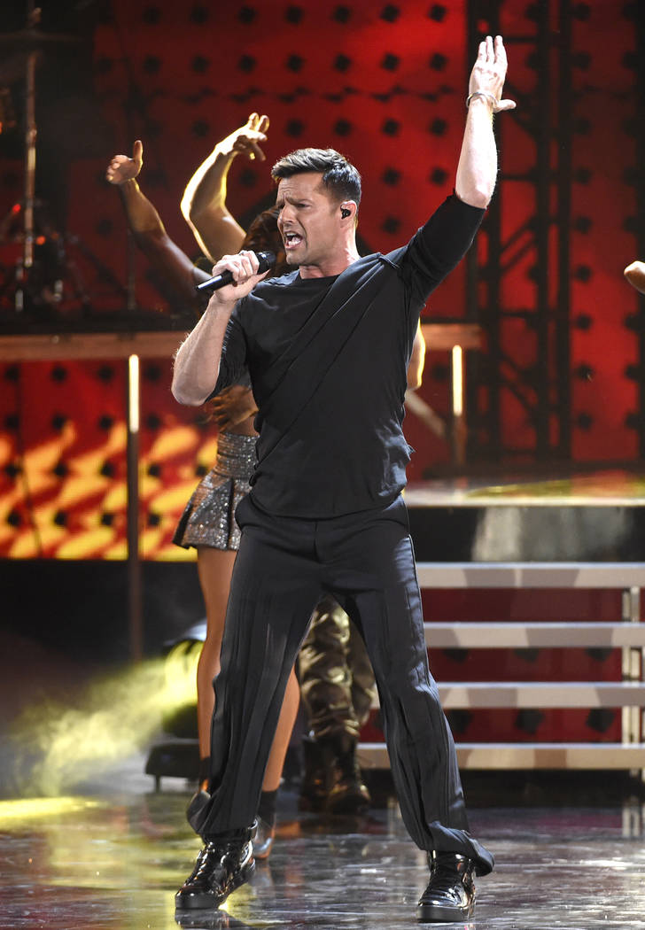 Ricky Martin performs a medley at the 16th annual Latin Grammy Awards at the MGM Grand Garden Arena on Thursday, Nov. 19, 2015, in Las Vegas. (Photo by Chris Pizzello]/Invision/AP)