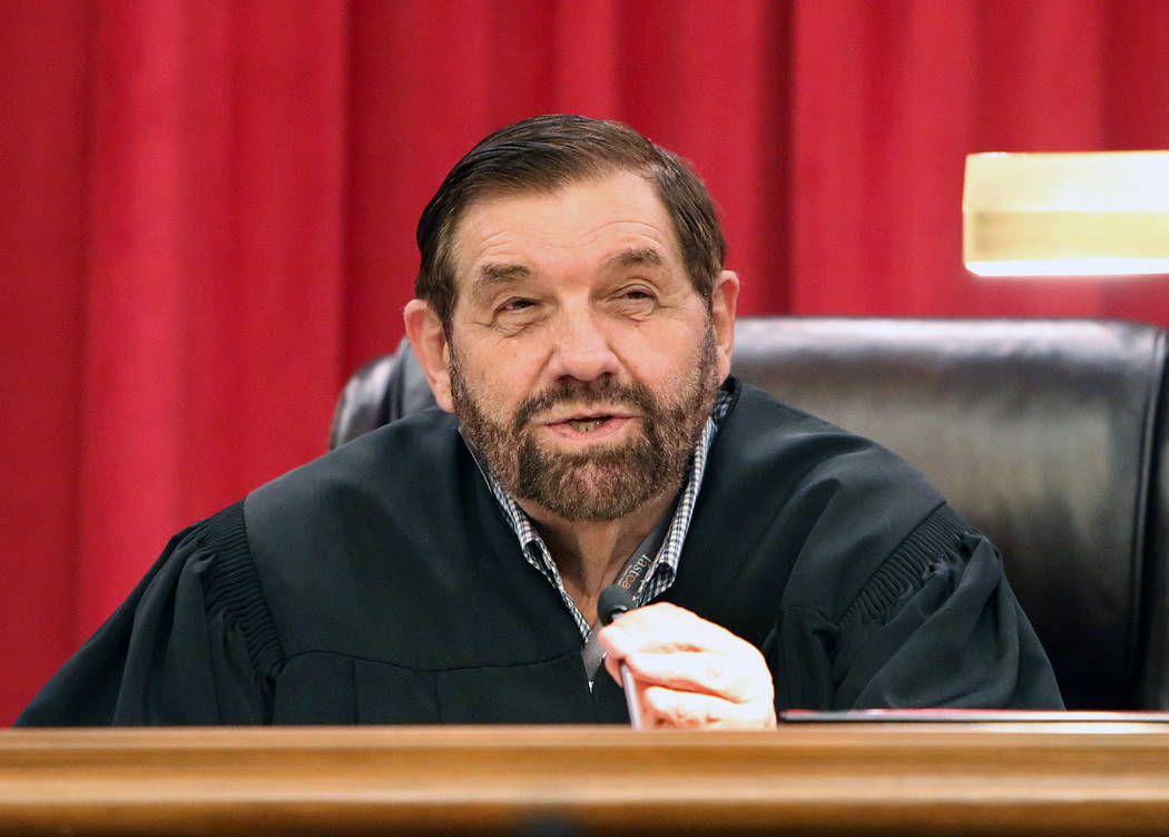 Nevada Supreme Court Justice Michael Cherry during the first oral arguments in the new Nevada Supreme Court building on Monday, April 3, 2017, in Las Vegas. Bizuayehu Tesfaye Las Vegas Review-Jour ...