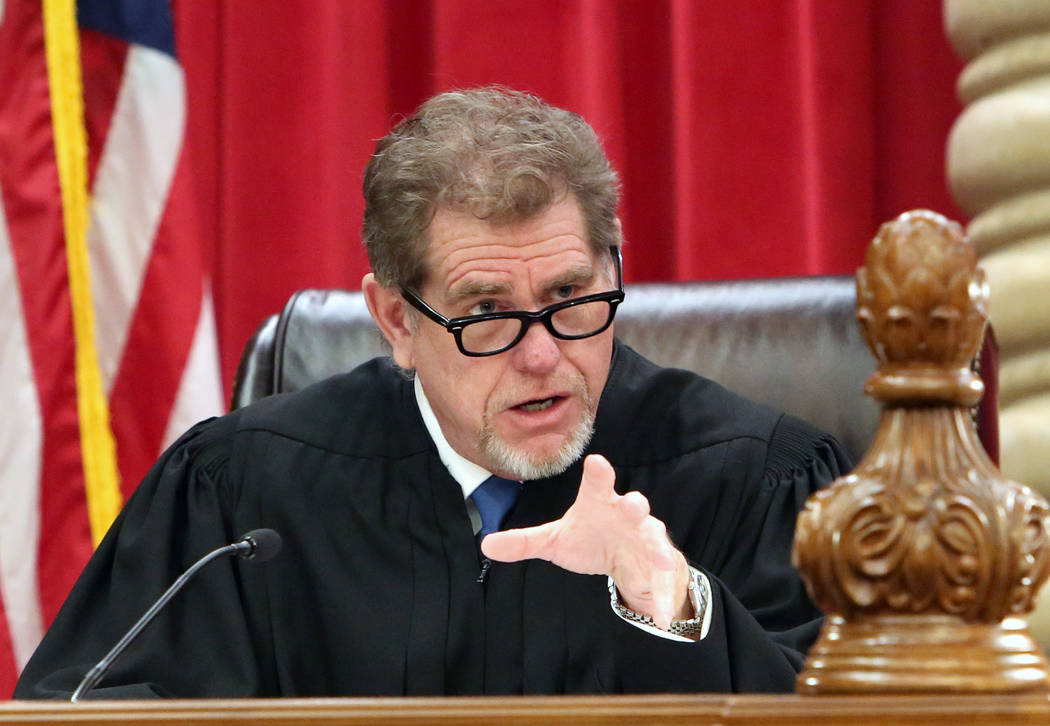 Nevada Supreme Court Justice Ron Parraguirre comments during the first oral arguments in the new Nevada Supreme Court building on Monday, April 3, 2017, in Las Vegas. Bizuayehu Tesfaye Las Vegas R ...