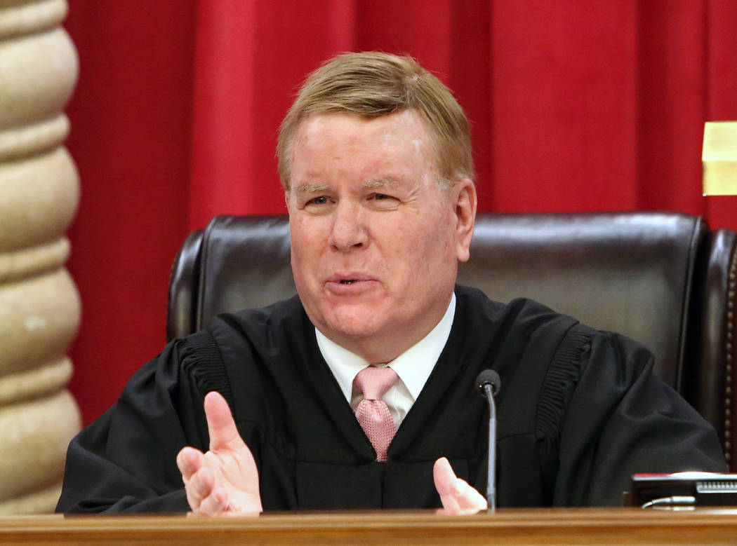 Nevada Supreme Court Justice Mark Gibbons comments during oral arguments for the first time in the new Nevada Supreme Court building on Monday, April 3, 2017, in Las Vegas. Bizuayehu Tesfaye Las V ...