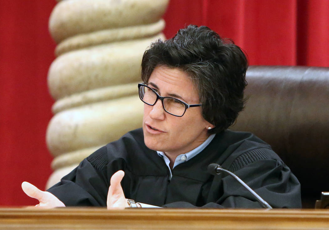Nevada Supreme Court Justice Kristina Pickering comments during oral arguments for the first time in the new Nevada Supreme Court building on Monday, April 3, 2017, in Las Vegas. Bizuayehu Tesfaye ...