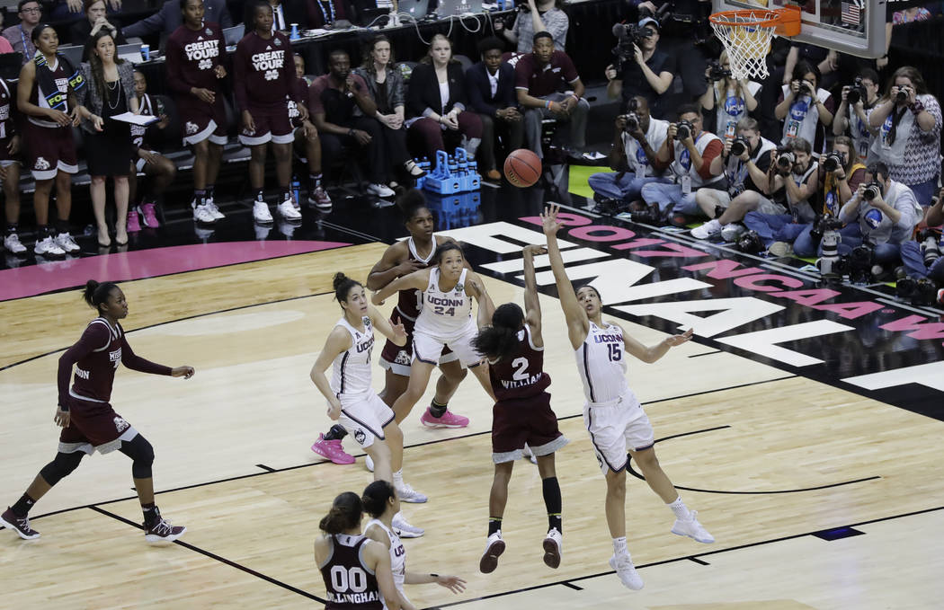 Mississippi State guard Morgan William (2) shoots the winning shot against Connecticut in an NCAA college basketball game in the semifinals of the women's Final Four, Friday, March 31, 2017, in Da ...