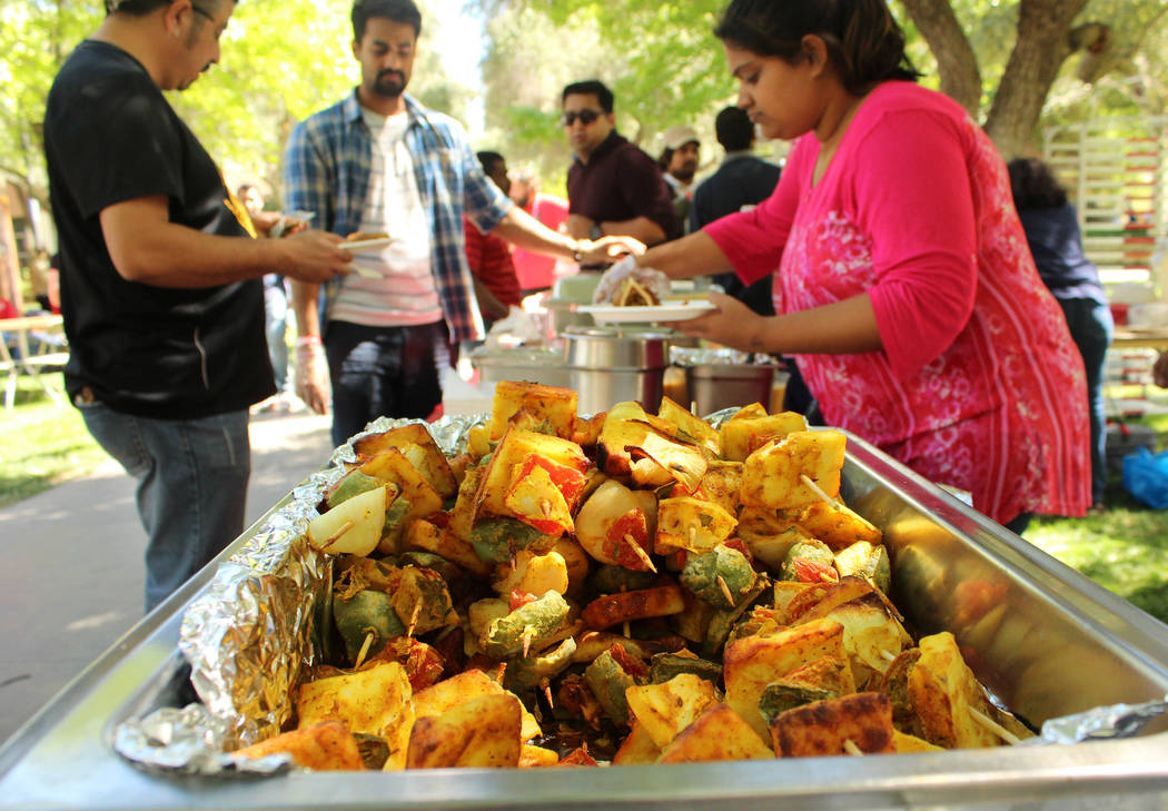 Indian food served during the Festival of Communities at UNLV, Saturday, April 1, 2017. (Gabriella Benavidez Las Vegas Review-Journal) @gabbydeebee