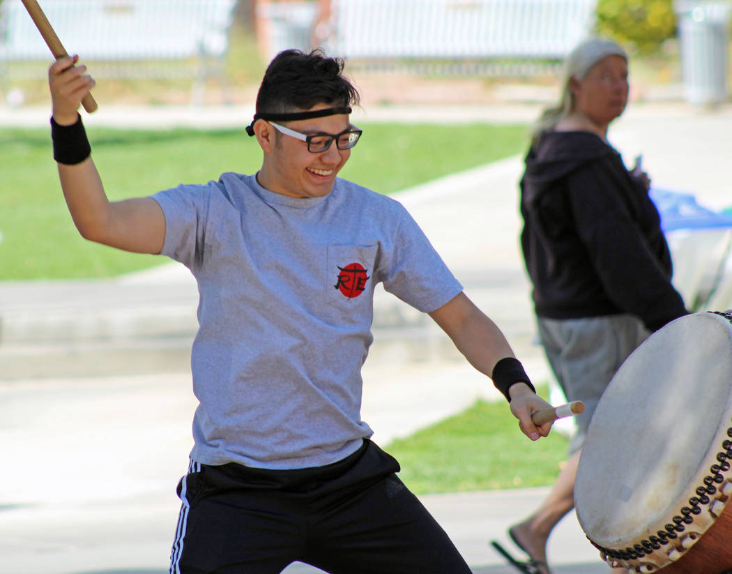 Ryan Salinas performs with Rebel Taiko Experiment during the Festival of Communities at UNLV, Saturday, April 1, 2017. (Gabriella Benavidez/Las Vegas Review-Journal) @gabbydeebee