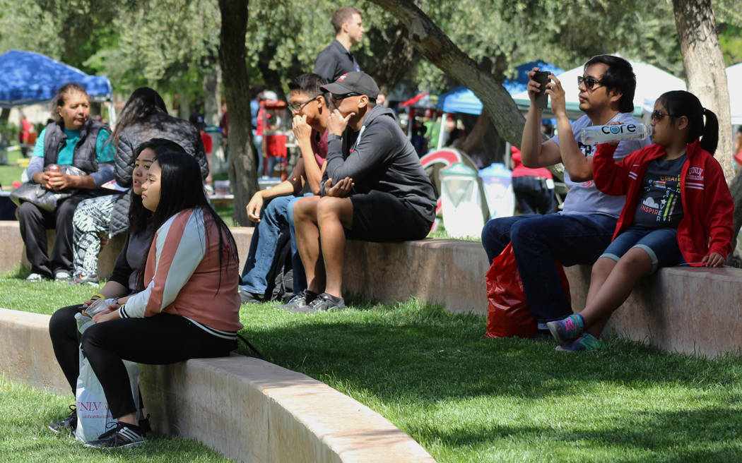 A crowd watches a performance during the Festival of Communities at UNLV, Saturday, April 1, 2017. (Gabriella Benavidez Las Vegas Review-Journal) @gabbydeebee