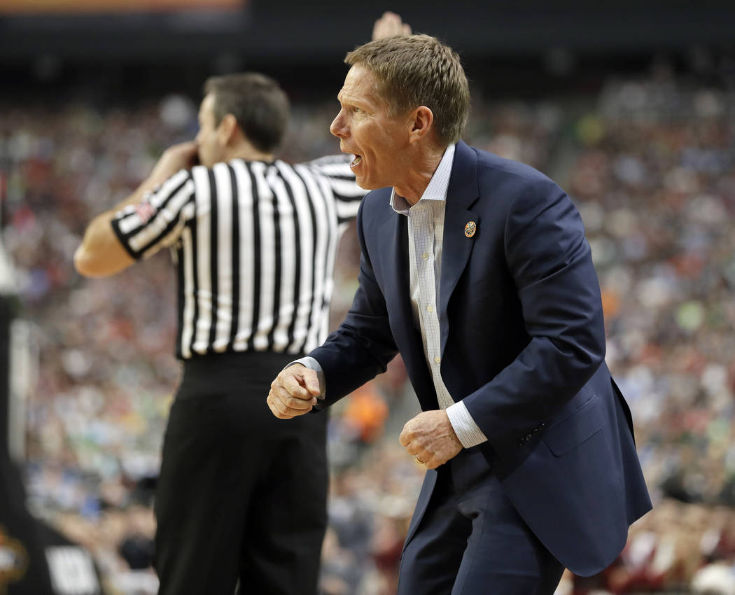 Gonzaga head coach Mark Few reacts during the second half in the semifinals of the Final Four NCAA college basketball tournament against South Carolina, Saturday, April 1, 2017, in Glendale, Ariz. ...