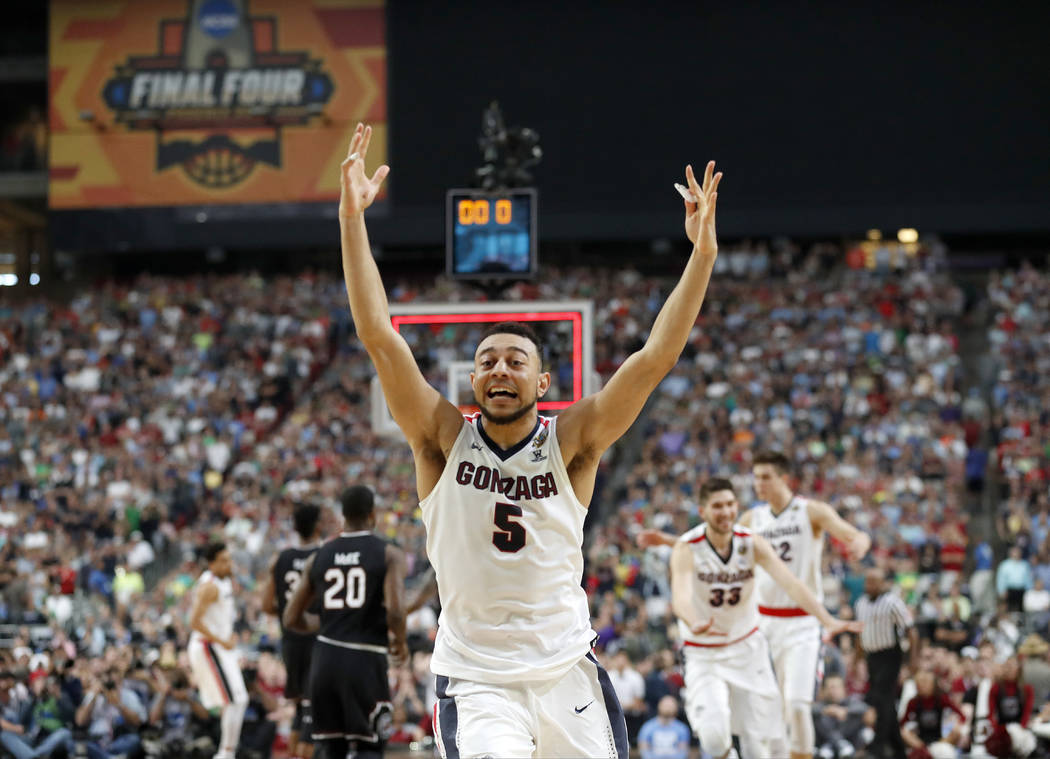 Gonzaga's Nigel Williams-Goss (5) celebrates after the semifinals of the Final Four NCAA college basketball tournament against South Carolina, Saturday, April 1, 2017, in Glendale, Ariz. Gonzaga w ...