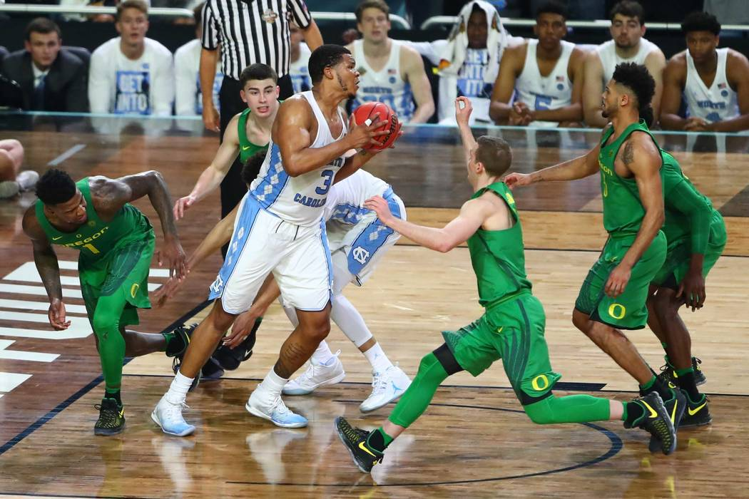 Apr 1, 2017; Glendale, AZ, USA; North Carolina Tar Heels forward Kennedy Meeks (3) grabs the rebound at the end of the game for the win over the Oregon Ducks in the semifinals of the 2017 NCAA Men ...