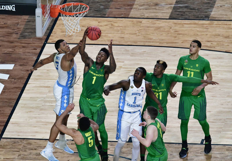 Apr 1, 2017; Glendale, AZ, USA; Oregon Ducks forward Jordan Bell (1) battles for the rebound with North Carolina Tar Heels forward Kennedy Meeks (3) in the semifinals of the 2017 NCAA Men's Final  ...