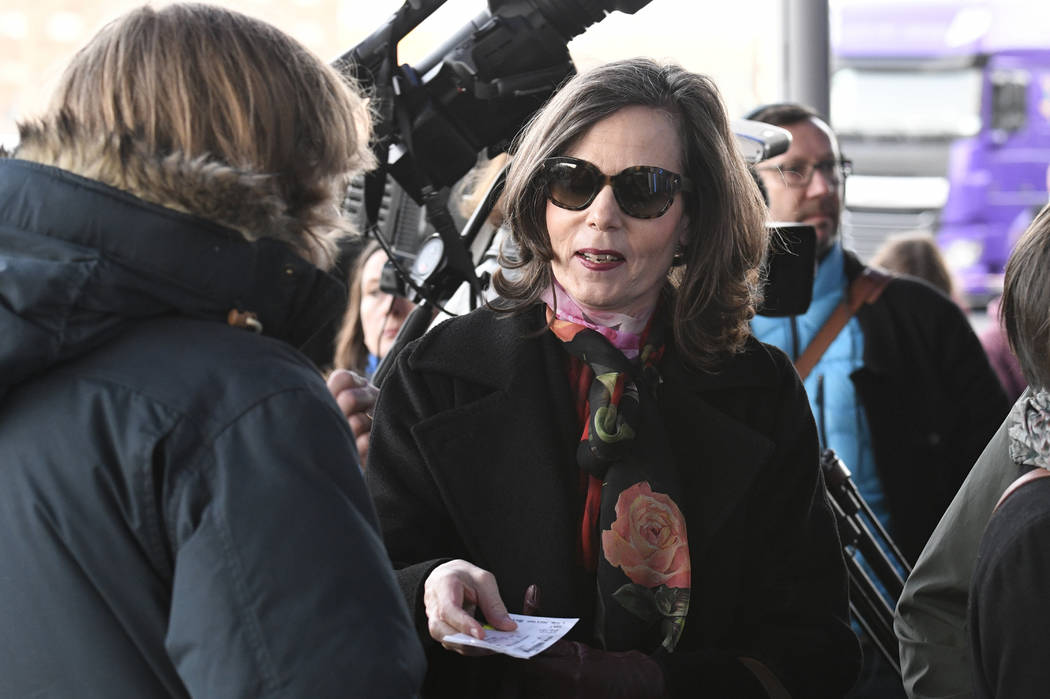 Permanent Secretary of the Swedish Academy permanent secretary Sara Danius enters to a concert by Bob Dylan at Stockholm Waterfront Saturday April 1, 2017. The Swedish Academy met with singer-song ...