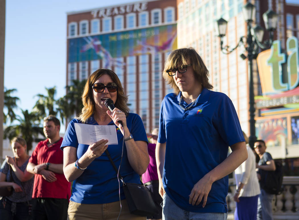 Grant a Gift Autism Foundation Founder/President and CEO Lynda Tache, with her son Grant, 15, before a butterfly release honoring World Autism Awareness Day outside of The Venetian hotel-casino in ...