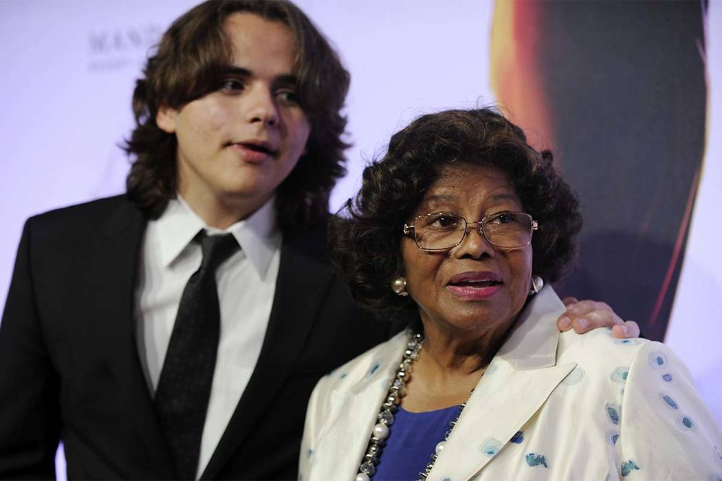 """Prince Jackson and his grandmother Katherine Jackson arrive June 29, 2013, at the world premiere of """"Michael Jackson ONE"""" at THEhotel at Mandalay Bay Resort and Casino in Las Vegas. (David Becker/ ..."""