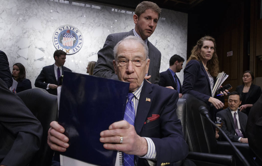 Senate Judiciary Committee Chairman Sen. Charles Grassley, R-Iowa, wraps up the meeting on Capitol Hill in Washington, Monday, April 3, 2017, after his panel voted along party lines on the nominat ...