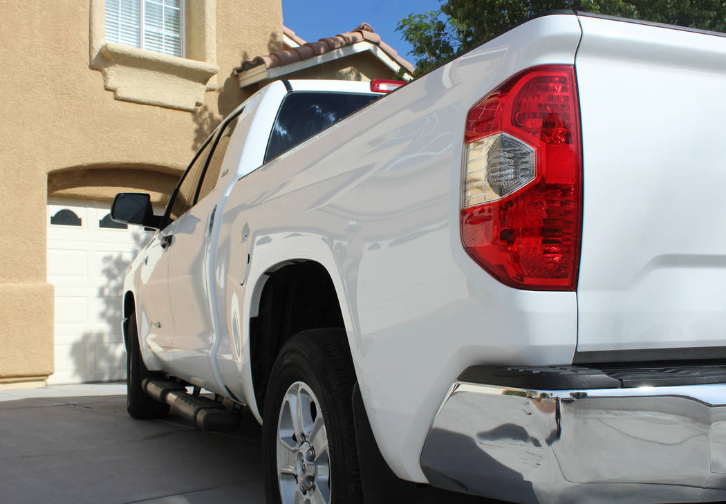Rob Khadivian's 2015 Toyota Tundra at his Henderson home, Tuesday, April 4, 2017. He's considering renting his truck for $110 per day. (Gabriella Benavidez Las Vegas Review-Journal) @gabbydeebee